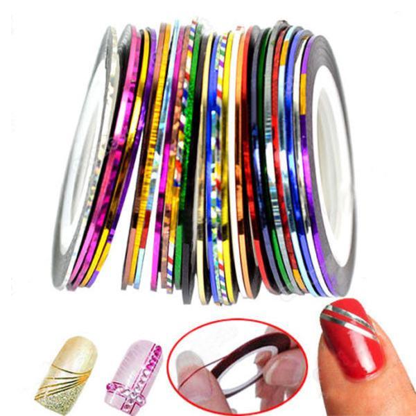 1Set/10pcs DIY Multi-colors Rolls Striping Line Tape Nail Art DIY Decoration Sticker(China (Mainland))