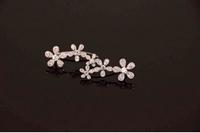 925 silver  silver charm Micro inlay zircon flowers  earrings