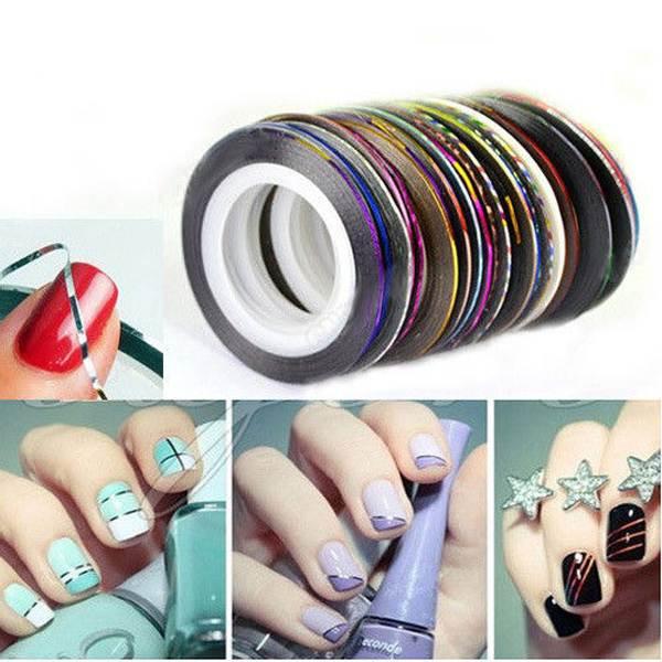 1Set/10pcs Mixed Colors Rolls Striping Tape Line Nail Art Tips Sticker Decoration(China (Mainland))