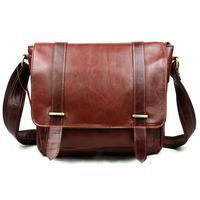 New High Quality Vintage Fashion Casual Genuine leather Oil Wax Leather Cowhide Men Messenger Bag Shoulder Bag Bags For Men B351