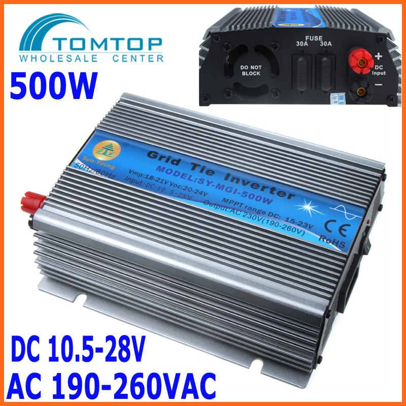 500W Watt Micro Grid Tie Inverter Accept DC 10.5-28V Solar Power Pure Sine Wave AC Output 190-260V(China (Mainland))