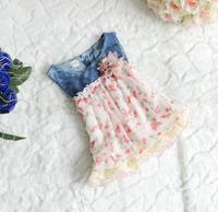 Hot sale Baby Girls Floral Denim Dress Kids Beach/ Summer/ Princess/Chiffon Layer Dresses free shipping