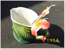 3PCS Canna porcelain Coffee Set Cup Saucer Spoon free shiping