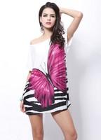 Women tops fashion blusas femininas ice silk dress long blouse desigual vintage butterfly print shirt women clothing plus size