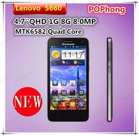 original phone lenovo s660 4.7 IPS QHD 960*540 MTK6582 Quad Core 1G RAM 8G ROM 8.0MP