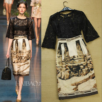 Free Shipping 2014 Fashion Europen Vintage Lace Crochet Patchwork Print Faux Two Piece Runway Dresses