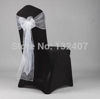 freeshipping  banquet chair covers  sash/ bow  white  orgaza  chair cover sash festa