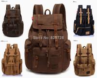 Vintage Canvas genuine Leather Backpack Outdoor Mountain Travel Shoulder Bag Men Women Hiking Camping Sport School Rucksack
