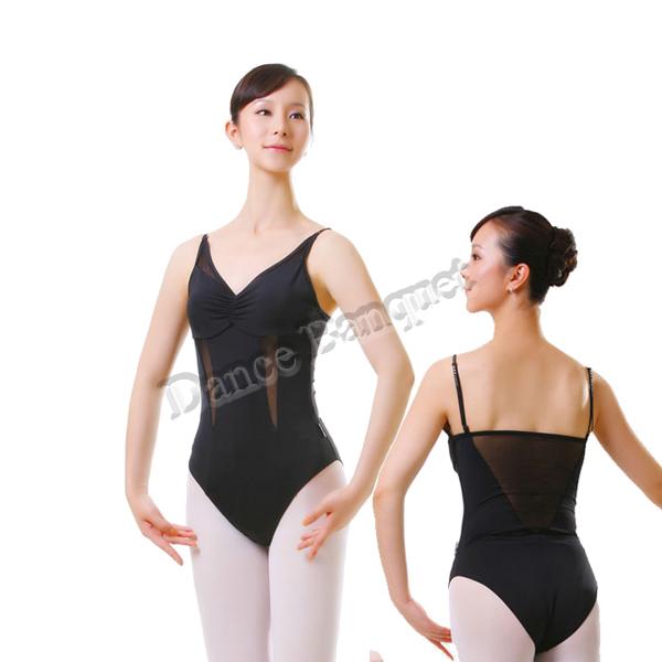 Women's attractive mesh matached ballet leotard features mesh straight back , leotard adult, ballet bodysuit, dance clothing(China (Mainland))