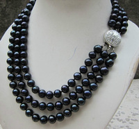Hot sales WHOLESALE SELL 3 ROW 8-9MM AAA Fresh water BLACK PEARL   fashion jewelry