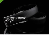 Men's Fashion Genuine Black Leather Belt Sliver Jaguar Buckle
