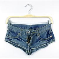 2014 Hot Sale Vintage blue women's Denim Shorts female Low Waist jeans shorts short Pants for women