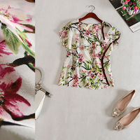 Free shipping! 2014 new summer O-neck short Peach printing sleeve  shirt, women's peach blouse
