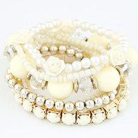 2014 NEW Ladies Fashion Sweet Flowers Beads Bracelet
