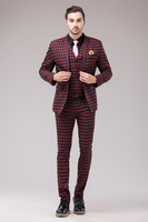 men suit set jacket pant vest business wedding Hodginsii fashion elegant slim plaid men's piece set suit new arrival male