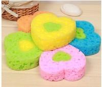 freeshipping_Wholesale 10pcs/lot Large heart-shaped bath sponge pad,fahion shower ball householder
