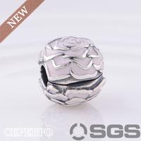 Sterling Silver & Pink Enamel Rose Garden Fixed Clip Charm  Fit Pandora Bracelet Necklaces & Pendants KT081-N