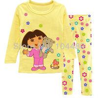 new dora pijamas kids,spring autumn fashion girls clothing set,long sleeve baby children pyjamas,retail kids pajama sets