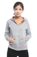 2014 New Women's Vogue Fashion Hot Sale All Match Skull Back Pattern Long Sleeves Hooded Zipper Dual Purpose Coat Grey