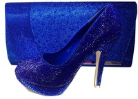 NEW 2014 Italy style  sexy   lady high heel  shoes with matching  cluth or bag CSB6027-2 Royal blue