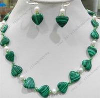 Hot Sale HEART GREEN GORGOUESE MALACHITE & TRUE WHITE CULTURED PEARL NECKLACE EARRING SET fashion jewelry