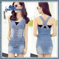 2014 summer new fashion korean women clothing slim V-Neck sleeveless sexy club dress blue party vest denim desigual dresses