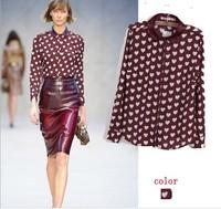 New Summer 2014 laides blouses & shirts long sleeve women clothing clearance chiffon blouse heart shape print blusas femininas