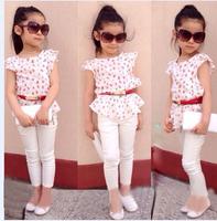 free shipping High-quality Summer Hello Kitty Baby Girl Suits Kids Sets headband+Dress+Pants Children Clothing 3pcs Set retail