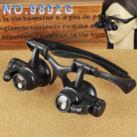 Optical lens LED light loupe Glasses Magnifier magnifying glass for repairing  working reading 10X 15X 20X 25X -NO.9892G