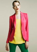 22014 Za new hot stylish and comfortable women's Blazers Candy color lined with striped Z suit Watermelon Red/Blue/Black/Orange