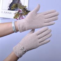 (1pair/lot) New Design Winter Women's Cashmere Gloves,Hot Sale Girls Outdoor  Business Mittens,Bow Wool Warm Glove