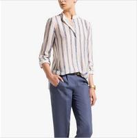 ST2129 New Fashion Ladies' Elegant metal chain print blouses stand collar long sleeve OL shirt casual slim brand designer tops