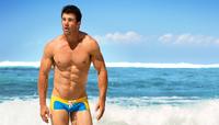 free shipping fashion U-shaped men trunks, lace patchwork men swimwear,men boxer underwear