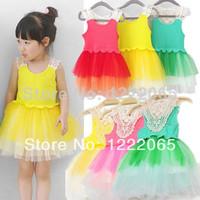 Retail 1pc 2014 new arrival summer girl dress sleeveless Hollow Tiered Veil Super Tutu Vest Dresses Free shipping