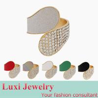 European punk Geometric Luxury Shiny Rhinestone  Bracelet  Alloy Gold Bangle 2014 New Fashion Statement Jewelry 6 Colors