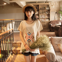 Small fresh summer fluid short-sleeve T-shirt female print linen national trend women's top