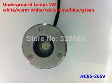 Lámparas subterráneos 1w AC85-265V azules cálidas luces blanco / blanco / rojo / amarillo / verde / Buried impermeable IP55 super brillante(China (Mainland))