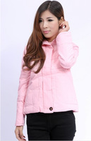 2014 New Women's New Arrival Korea Long Sleeves Winter Warm Long Sleeves Zipper Short Pattern Jacket Coats Pink
