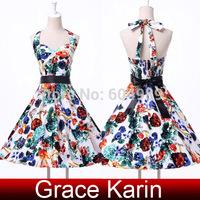 Free Shipping Grace Karin Women Flower print Cotton  50s 60s Vintage Dresses Rockabilly Swing Pinup Dress vestidos CL4594