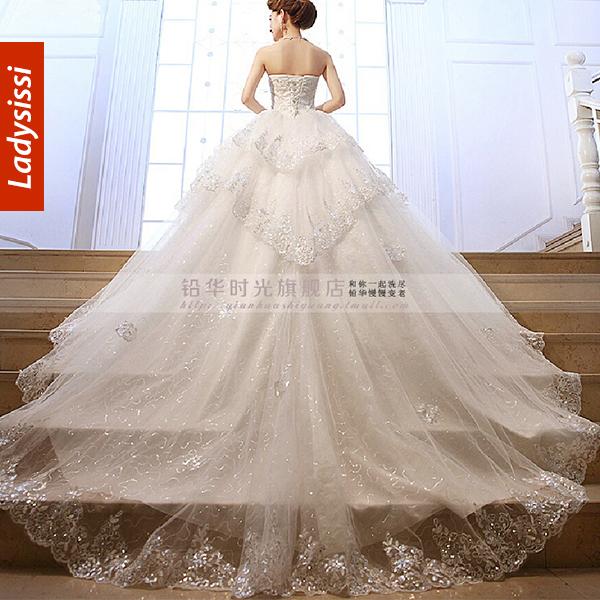 Wedding Dress Thin Lace Straps : White wedding dress new spring women long tail was