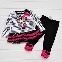 Retail 2014 New Kids Minnie bar Child suit shirt + pants 2pcs set girls striped suit bag cartoon Minnie bow sequins veil suit