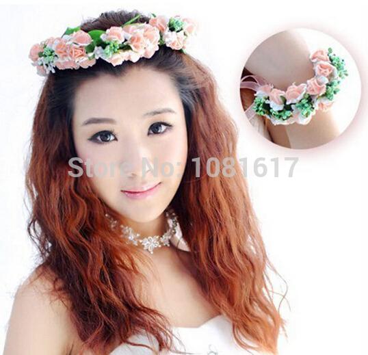 fashion white purple pink flower tiara for girls bridal hair accessories wedding jewelry bridesmaid crown with bracelets b36(China (Mainland))