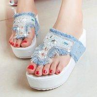 Denim flip-flop female slippers platform shoes platform rhinestone rivet paillette shoes