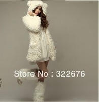 Fashionable Women's Korean Pattern Ear Lambwool Fur Downy Cute Winter Warm Hooded Coat Beige HY11100306 (With Inside Button )