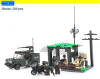 Enlighten Building Blocks Jeep Defensive Station Combat Zones Educational Construction Bricks Toys for Children Compatible