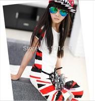Big girl Kids 2014 summer new Union Jack T-shirt and pants sets