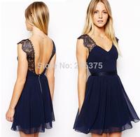 Free ship 2014 Summer New DRESS Women's sexy casual dress backless lace sleeveless v-neck chiffon dress lady Plus size S M L XL