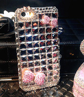 DIY Luxury bling fullbody diamond case for iphone 5s 4s transparent crystal back cover pink bowknot hello kt case