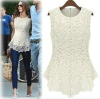 New autumn / Summer Lace Sleeveless Dresses Fashion Casual Women Lined 100% Cotton White Black Sexy Vest Blouse size S - XXXL