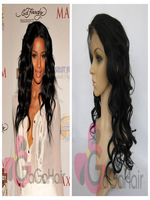 Synthetic Lace Front Wigs Free Shipping 10''-24'' in Stock 1# Jet Black Body Wave Celebrity Style Heat Resistant Hair Wholesale